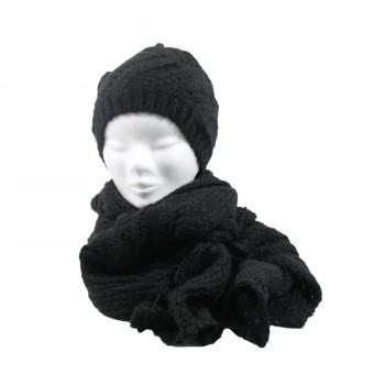 Kit écharpe en maille et bonnet assorti, très épais, couleur noir