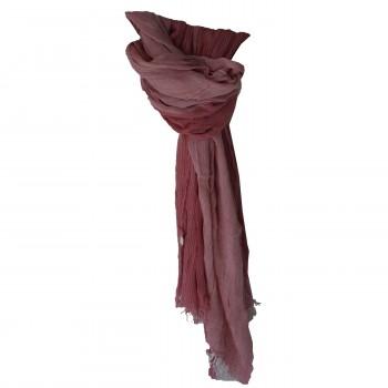 Foulard rouge rose effet chiné, rayé, cheich - chèche