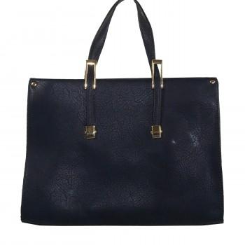 Sac à main mallette rectangulaire bleue marine à détails dorés et multiples rangements zippés