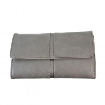 Porte-chéquier - Porte-cartes gris en simili-cuir avec détail argent