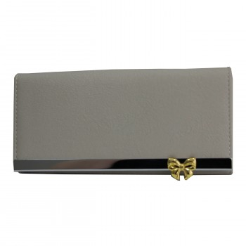 Porte-cartes portefeuille gris en simili-cuir avec bande chromée et noeœud doré