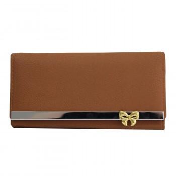 Porte-cartes portefeuille camel en simili-cuir avec doublure plus claire, bande chromée et nœoeud doré