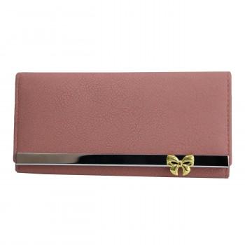 Porte-cartes portefeuille rose pâle en simili-cuir avec doublure plus claire, bande chromée et nœoeud doré