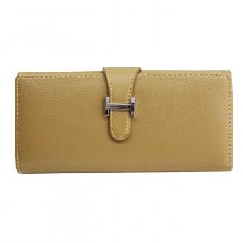 Porte-cartes portefeuille beige écru en simili-cuir avec fermeture à boucle chromée très originale