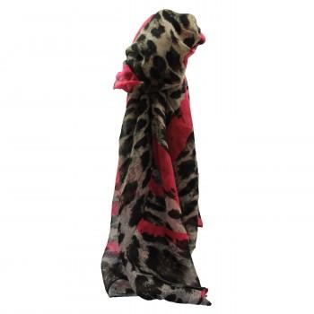 Foulard avec imprimé style animal léopard marron et coeurs roses fuchsia