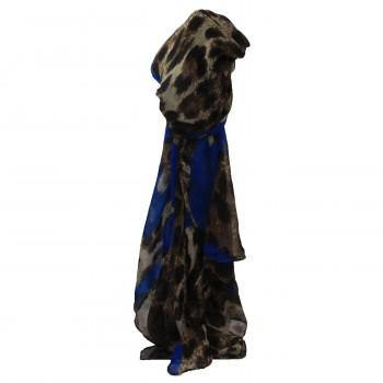 Foulard avec imprimé style animal léopard marron et coeurs bleus