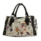 Petit sac à main blanc imprimé fleurs et papillons multicolores arrondi en simili-cuir et détails crocodile