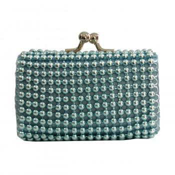 Petit porte-monnaie bleu à perles et ouverture chromée originale