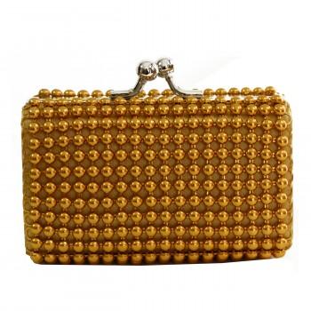 Petit porte-monnaie doré à perles et ouverture chromée originale