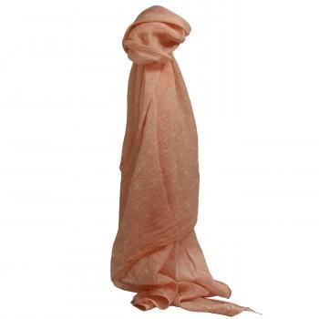 Foulard rose saumon en coton et soie à imprimé d'ancres marines blanches