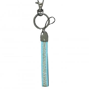 Porte-clés bijou de sac bleu bandeau à strass paillettes argentées
