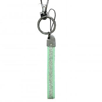Porte-clés bijou de sac vert bandeau à strass paillettes argentées
