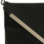 Petite pochette de soirée noire enveloppe avec détails argentés