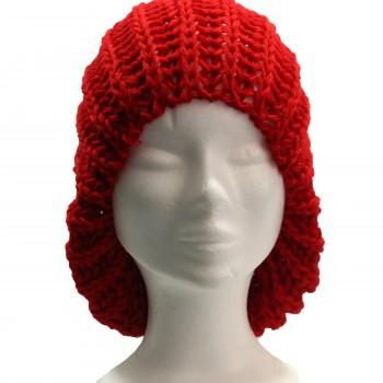 Bonnet à pompon en laine, très chaud et doux, rouge