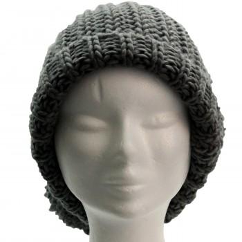 Long bonnet en laine à gros pompon tombant, très chaud et doux, gris