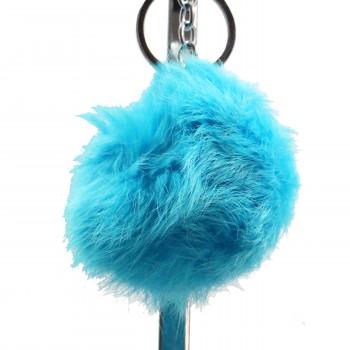 Grand porte-clés bijou de sac pompon bleu clair cyan en fourrure synthétique