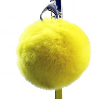 Grand porte-clés bijou de sac pompon jaune canari en fourrure synthétique