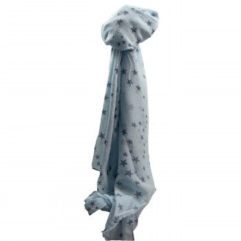 Foulard bleu clair en coton à imprimé étoiles bleues foncées
