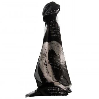 Foulard noir en coton et viscose à imprimé original, calligraphie, écritures… et coeurs blancs