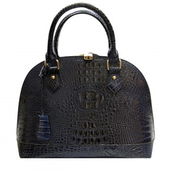 Grand sac à main arrondi en simili-cuir façon crocodile bleu marine
