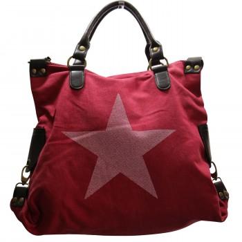 Sac à main rouge en tissu avec motif étoiles imprimé, rivets et détails en simili-cuir