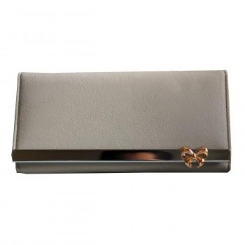 Porte-cartes portefeuille beige en simili-cuir avec bande chromée et nœoeud doré