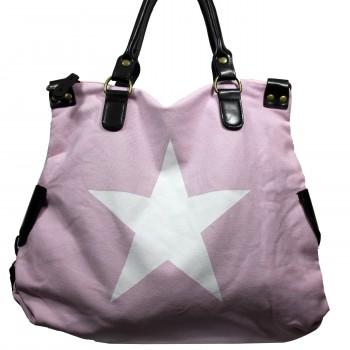 Sac à main rose en tissu avec motif étoiles imprimé, rivets et détails en simili-cuir