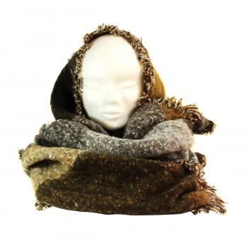 Echarpe tour de cou poncho en coton et laine, très douce et très grande, en nuances de marron et de gris