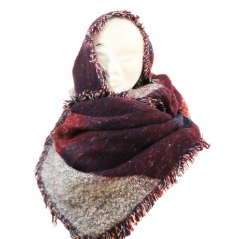 Echarpe tour de cou poncho en coton et laine, très douce et très grande, en nuances de rouge, bordeaux et gris