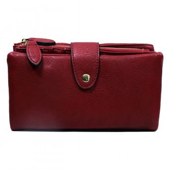 Organisateur de sac, compagnon, portefeuille rouge bordeaux en simili-cuir souple, avec porte-monnaie amovible