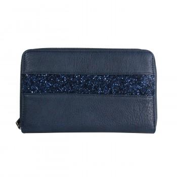 Compagnon tout en un portefeuille - porte-chéquier bleu avec bande à paillettes bleue et intérieur violet