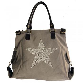 Sac à main gris en tissu avec motif étoiles en strass, rivets et détails en simili-cuir
