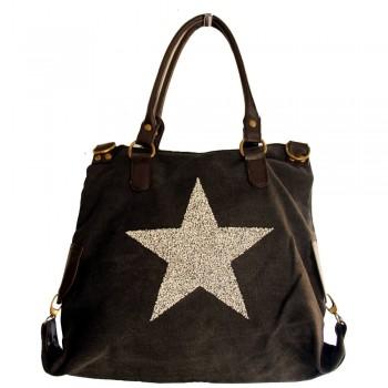 Sac à main noir en tissu avec motif étoiles en strass, rivets et détails en simili-cuir