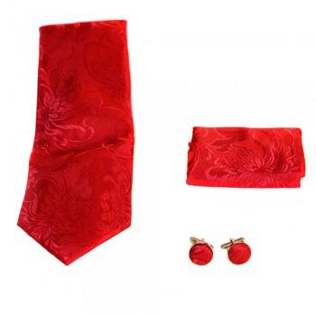 Coffret cravate, pochette costume et boutons de manchette en soie, rouge bordeaux à fleurs brodés