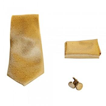 Coffret cravate, pochette costume et boutons de manchette en soie, beige or uni à micro motifs
