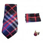 Coffret cravate, pochette costume et boutons de manchette en soie, camaïeu de bleus à rayures roses et blanches