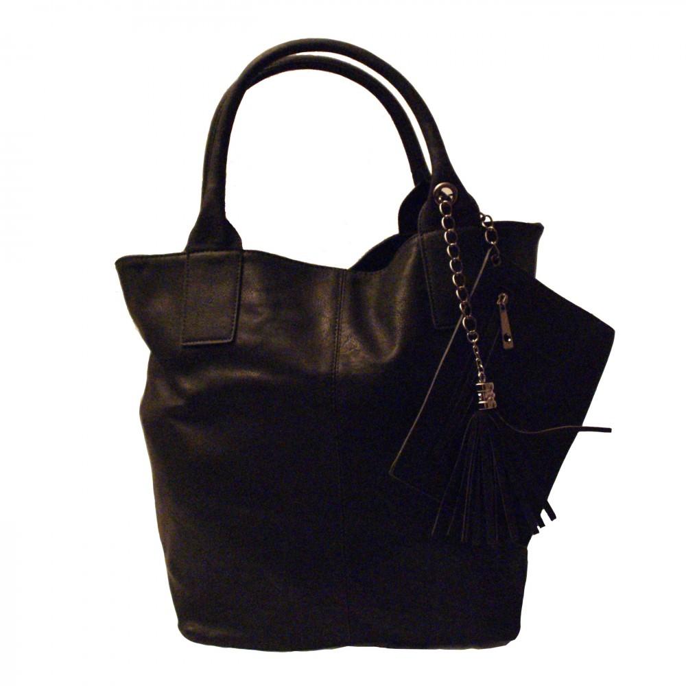 Sac main noir simili cuir pompon et pochette int gr e - Pochette rangement sac a main ...