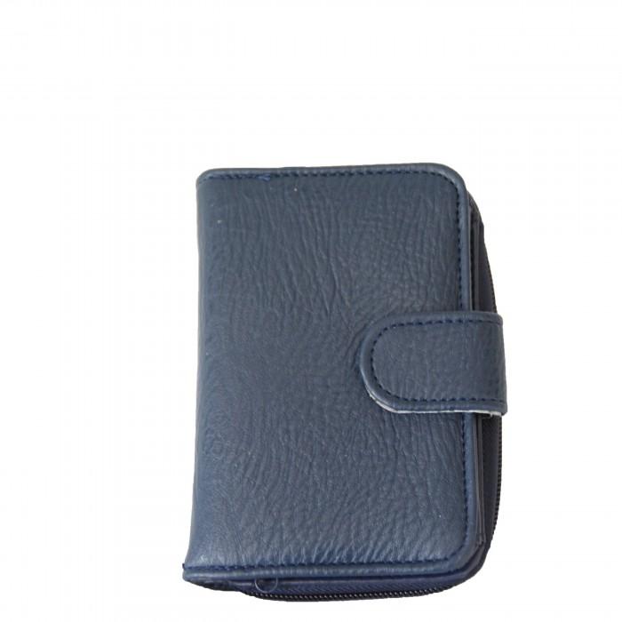 Portefeuille bleu à pression et à multiples rangements pour cartes