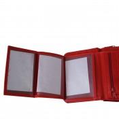 Portefeuille rouge à pression et à multiples rangements pour cartes