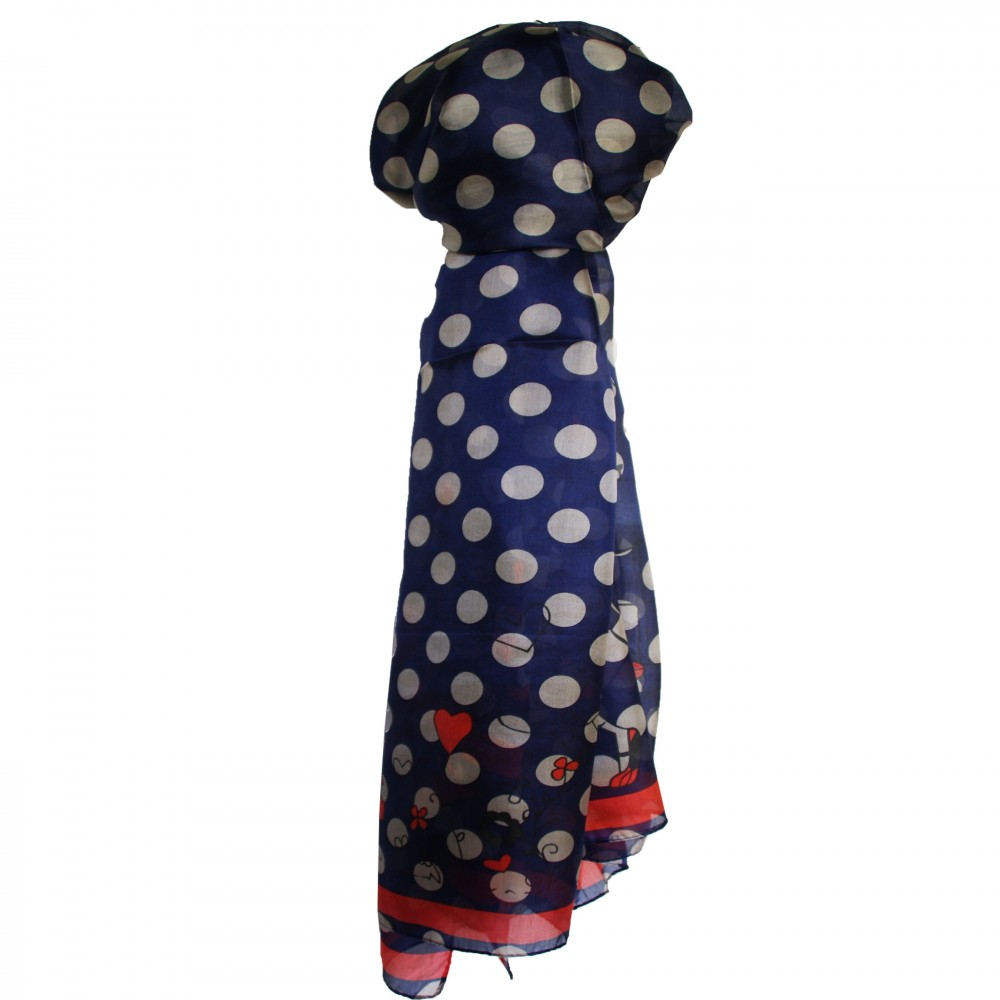 8e8d64322c3 Grand foulard en soie bleu marine et rouge à motif Paris très tendance