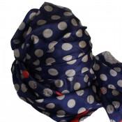 Grand foulard en soie bleu marine et rouge à motif Paris très tendance
