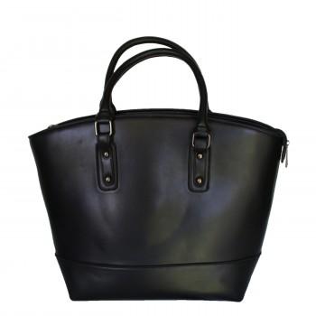 Sac à main noir style cabas en simili-cuir mat très classe avec intérieur bleu