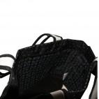 Sac à main noir Rica Lewis style cabas en tissu à cœoeurs roses