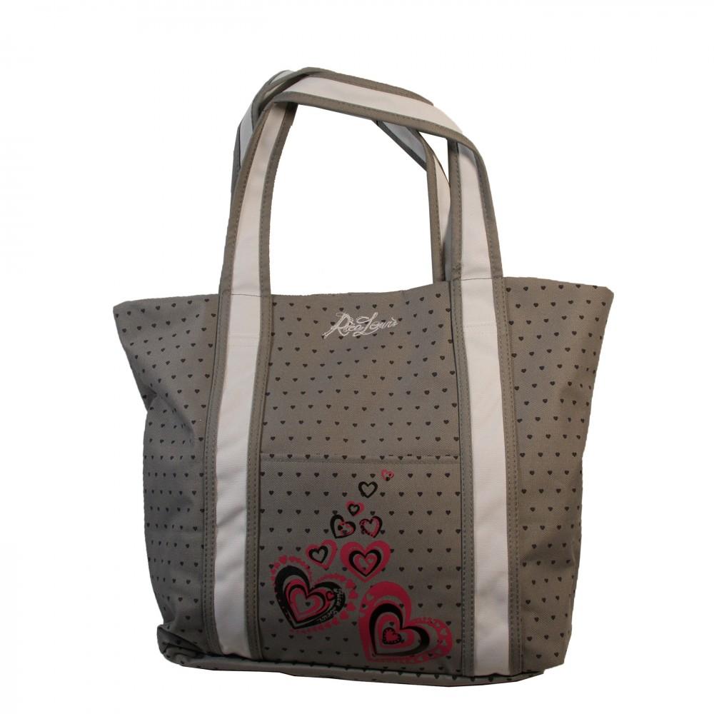 15e9fbe6839ee Sac à main gris Rica Lewis style cabas en tissu à coeœurs roses. Loading  zoom