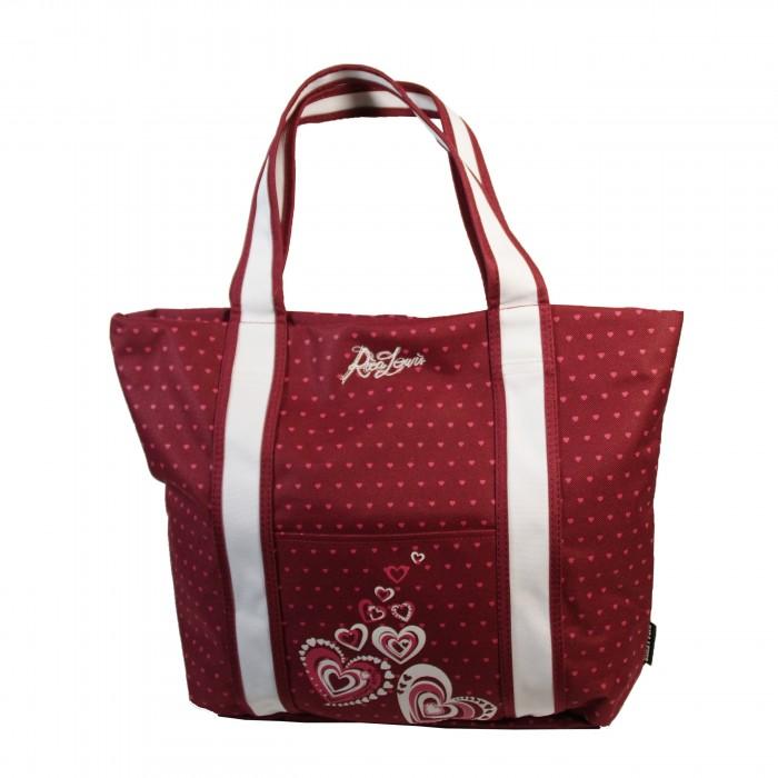 Sac à main bordeaux Rica Lewis style cabas en tissu à coeœurs roses
