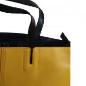 Sac à main jaune moutarde en simili-cuir à coutures originales et à lanière noire