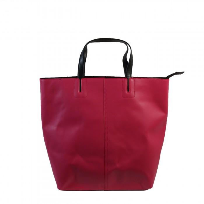 Sac à main rose fuchsia en simili-cuir à coutures originales et à lanière noire