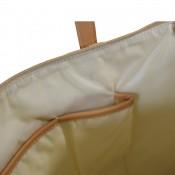 Sac à main style cabas en simili-cuir bicolore beige et camel