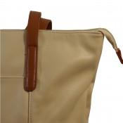 Sac à main style cabas en simili-cuir bicolore beige et marron