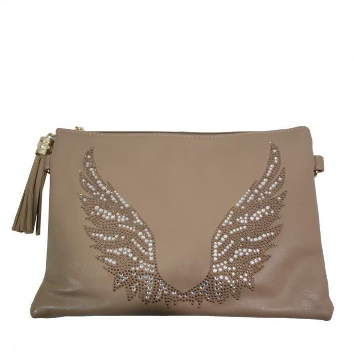 Pochette de soirée beige ailes d'ange brillantes